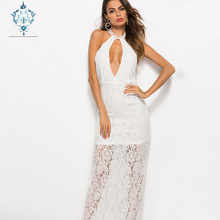 цены CURLY 2019 Casual lace open chest spaghetti Strap sexy dress women sleeveless Halter solid Hollow out Perspective hem long dress