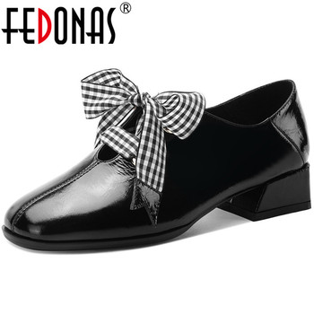 FEDONAS Famale Butterfly Knot Shoes For Women Genuine Leather Chunky Heels Pumps 2020 Summer Newest Wedding Casual Shoes Woman