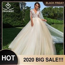 Vintage frisado apliques vestido de casamento swanskirt f104 v neck manga longa a linha de renda princesa vestido de noiva novia