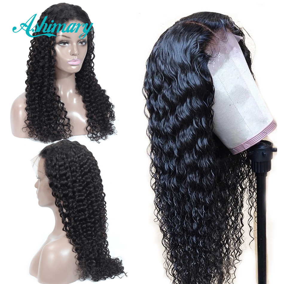 Ashimary Wigs Lace-Frontal Human-Hair Deep-Wave Brazilian 13X6 Black Women with Remy