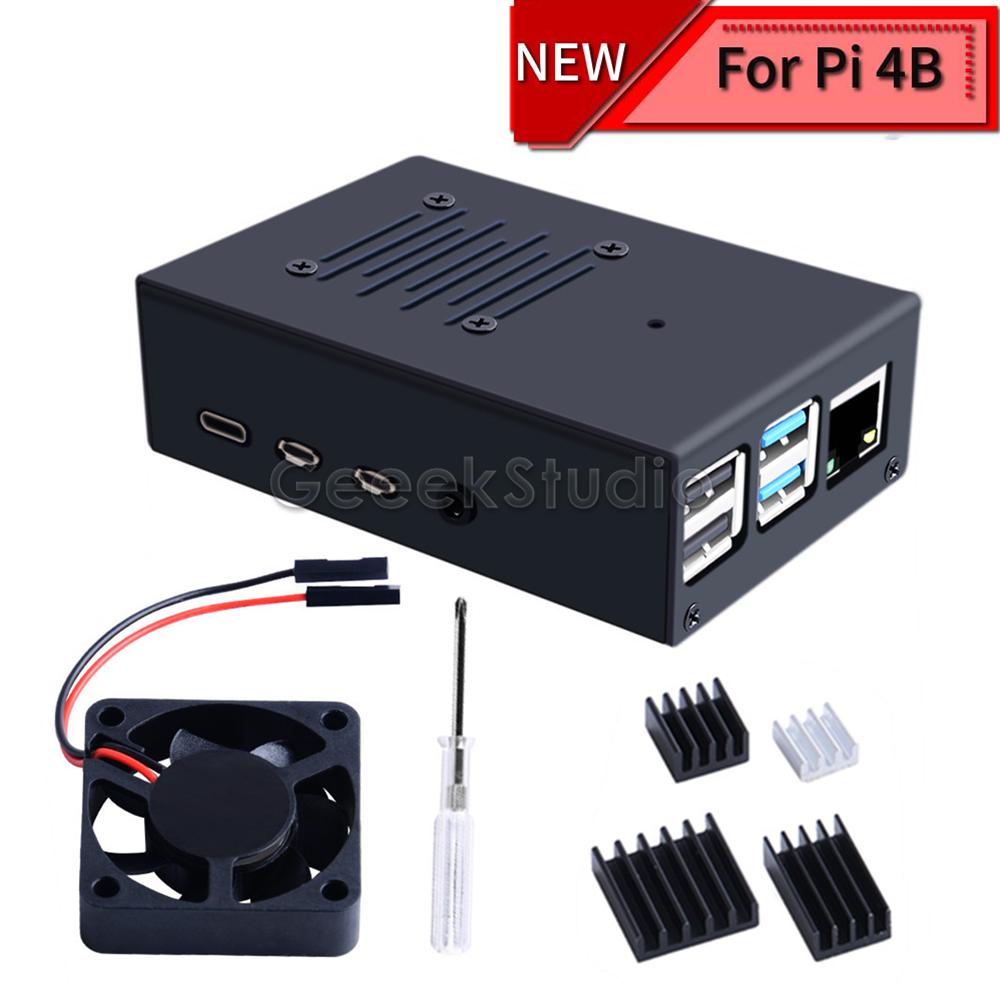 New Version Iron Alloy Black Metal Case Shell With 4010 Super Cooling Quiet Fan Heatsink For Raspberry Pi 4B Pi 4 Model B
