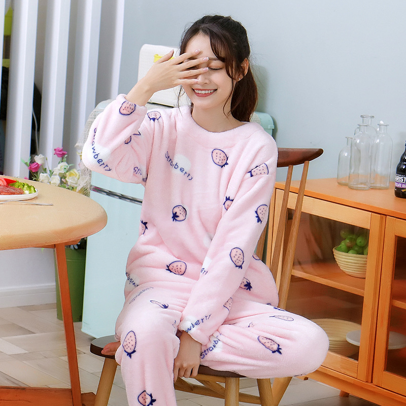 2019 Autumn Winter Women Pajamas Set Cute Flannel Cotton Long Sleeve Sleepwear Femme Pijama Solid Color Thick Sleepwear Pyjama