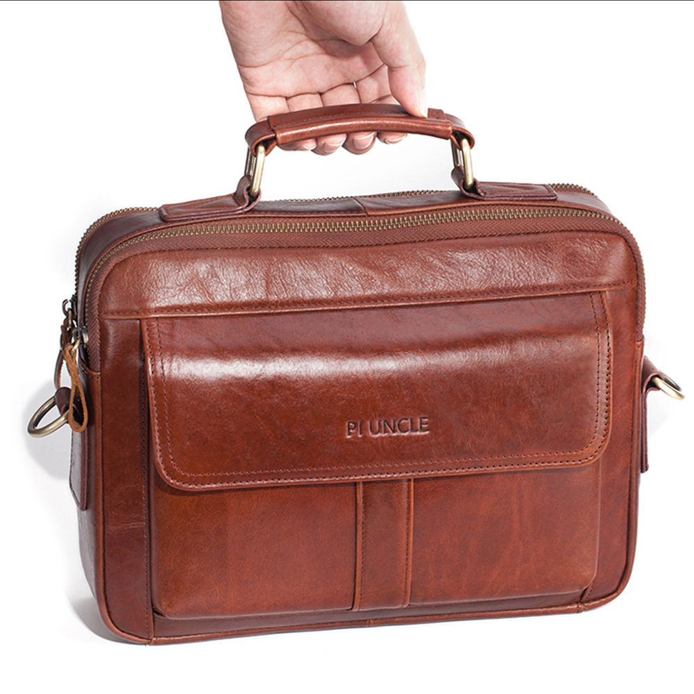 Fashion Business Briefcases Men Leather Bags Crossbody Shoulder Bags Leather Briefcases Computer Laptop Cowhide Messenger Bags