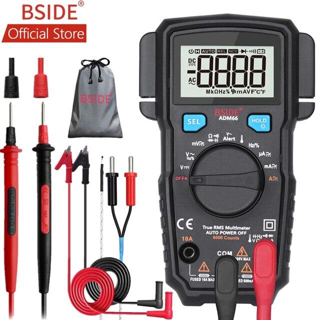 Bside ADM66 True Rms Digitale Multimeter Auto Range Trms Mini 6000 Dmm Dual Slot Capaciteit Ohm Hz Temp Ncv Diode pocket Tester