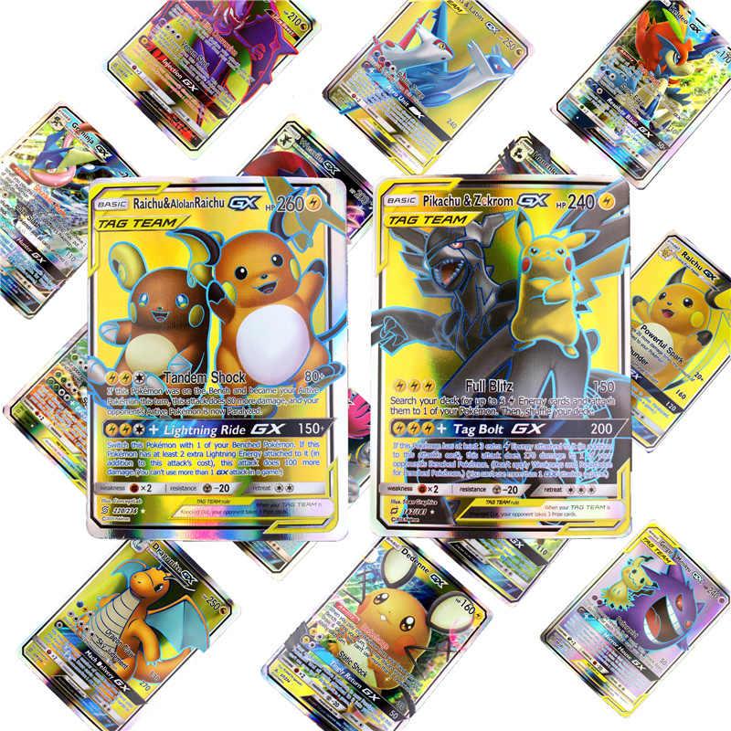 2019 أفضل بيع الساطع Pokemones أوراق للعب معركة كارت 25 50 100 قطعة التداول أوراق للعب ألعاب أطفال