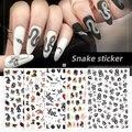 1 шт. черно-белая змея наклейка для ногтей водная бумага наклейка для дизайна ногтей маникюрная наклейка гель «сделай сам» змея наклейки для...