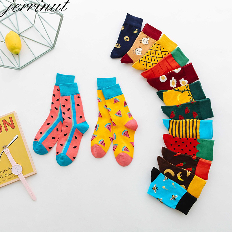 Warm Cotton Women Funny Socks With Print Cute Colored Happy Socks Autumn Winter Fashion Harajuku High Quality Crew Socks  1 Pair