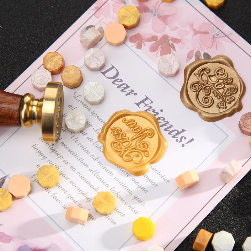 100pcs Retro Fire Painting Pill Octagon Sealing Wax Grain Stamping Envelope Documents Christmas Wedding Invitation Decorative