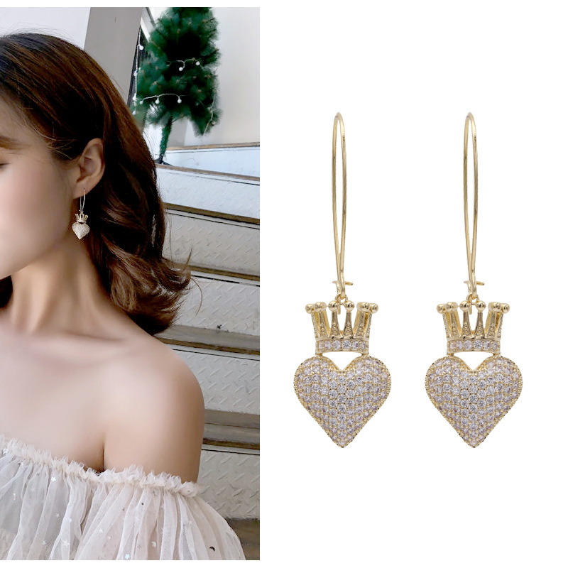 Temperament Fashion Love Crown Earrings 2020 New Summer Trend Peach Heart Earrings Net Red exquisite Exaggerated Earrings