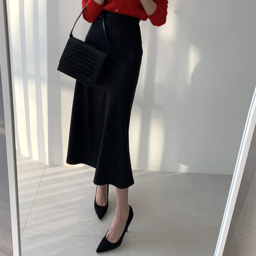 New Hot Women Luxury Mid-calf Long Soft Smooth Silk Satin Skirts Office Lady Hight Waist Glossy  Black Skirt