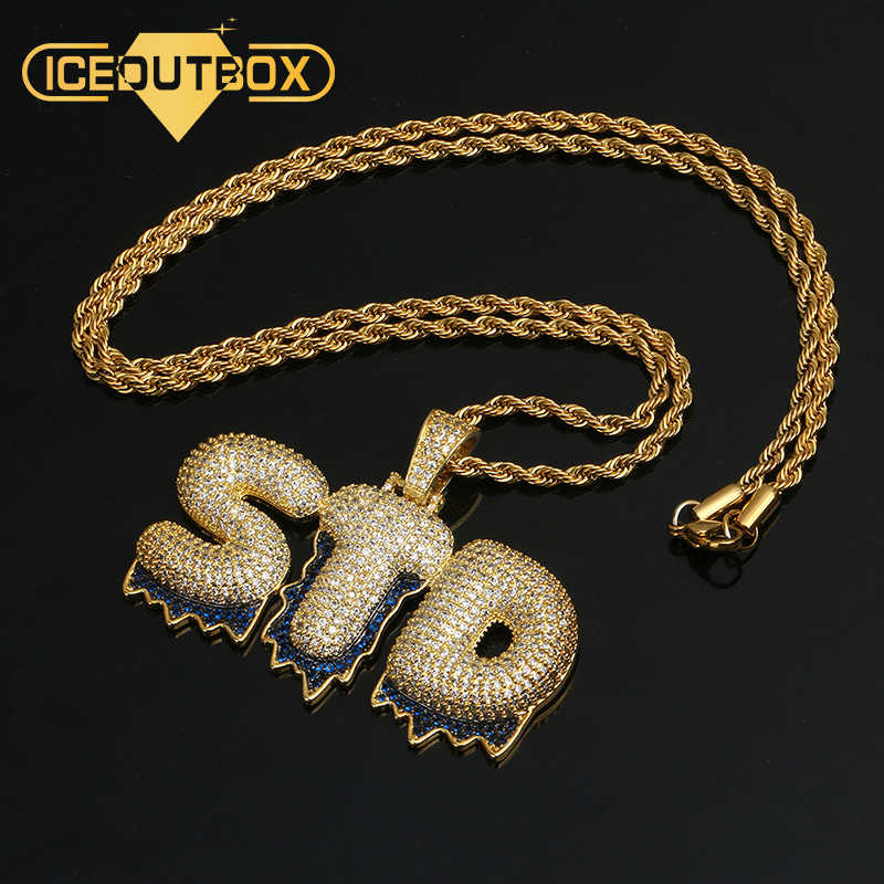 Custom Name Necklace Bubble Letters Pendants Hip Hop Men's Zircon Jewelry With Gold Silver 4MM Tennis Chain Rope Chain