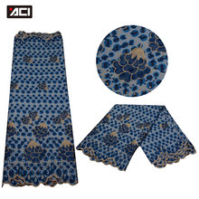 ACI-Beautiful Embroidered Nigerian Wax Lace Fabric High Quality Ankara For Party Dress