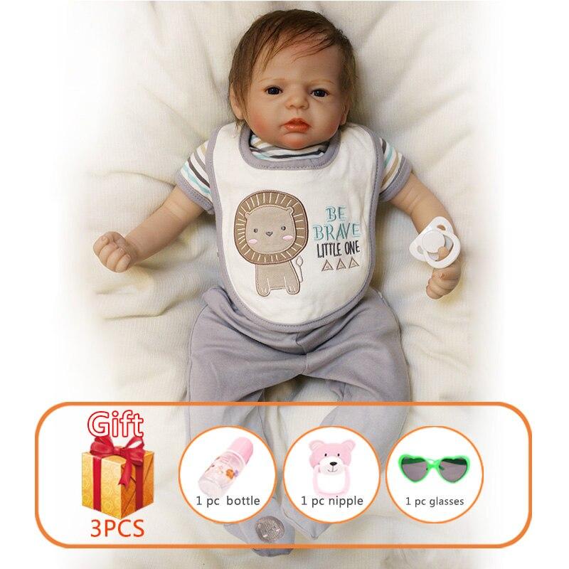 22 นิ้วตุ๊กตาทารกซิลิโคน Reborn ทารกตุ๊กตาทารกแรกเกิดของเล่นเด็กตุ๊กตา Handmade เด็กวัยหัดเดินตุ๊กตาเสื้อผ้าของขวัญเด็ก-ใน ตุ๊กตา จาก ของเล่นและงานอดิเรก บน   1