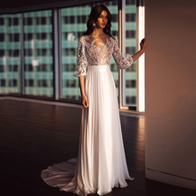 Simple Illusion Wedding Dress Nude Color Lining Lace Applique White Chiffon Bridal Gown For Woman 2021 Bohemian Civil платье