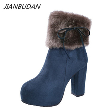 JIANBUDAN Artificial plush snow boots Fashionable womens winter high heels quality Flock Warm ankle High heel