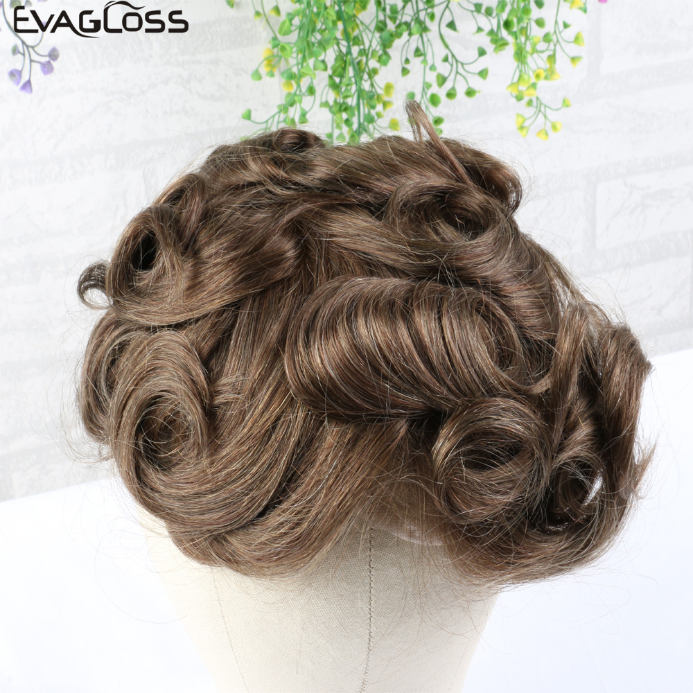 EVAGLOSS Men's Wig Q6 Style Natural Hairline Remy Human Hair Male Hair Wigs Swiss Lace Thin PU Hair System For Toupee Mens