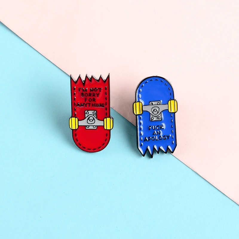 Youth Fashion Skateboard Enamel Pin Kustom Merah dan Biru Rusak Skateboard Lencana Bros Kerah Pin Pakaian Ransel Perhiasan Hadiah