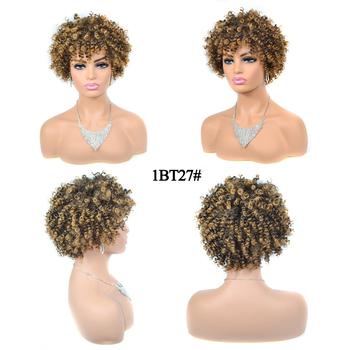 Mix kolor perwersyjne peruki syntetyczne z kręconymi włosami brak koronkowe peruki z naturalną linią włosów pełne peruki wysokiej temperatury włókna dla kobiet peruka Afro tanie i dobre opinie OLD STREET Krótki Perwersyjne kręcone 1 sztuka tylko Średni brąz Średnia wielkość Elastyczne koronki 6inch