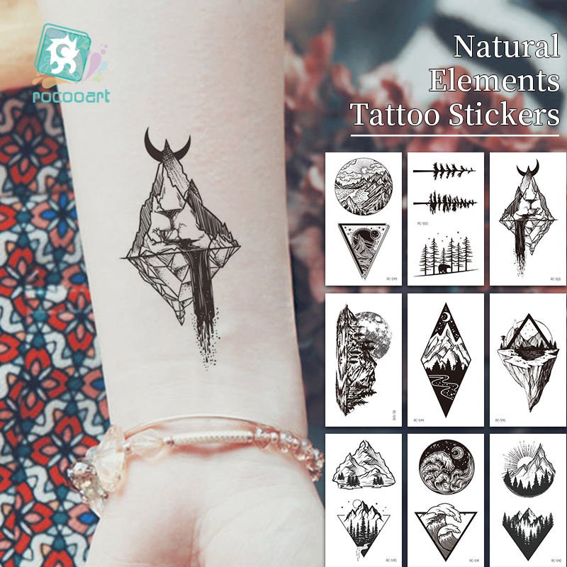 Waterproof Temporary Tattoo Sticker Sun Moon Mountains Hills Trees Tatto Flash Tatoo Sunrise Fake Tattoos For Kids Men Women