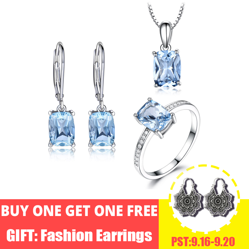 UMCHO Elegant 925 Sterling Silver Pendants Necklace Rings Earrings Sky Blue Topaz Wedding Jewelry Sets For Women With Box Chain-in Jewelry Sets from Jewelry & Accessories    1