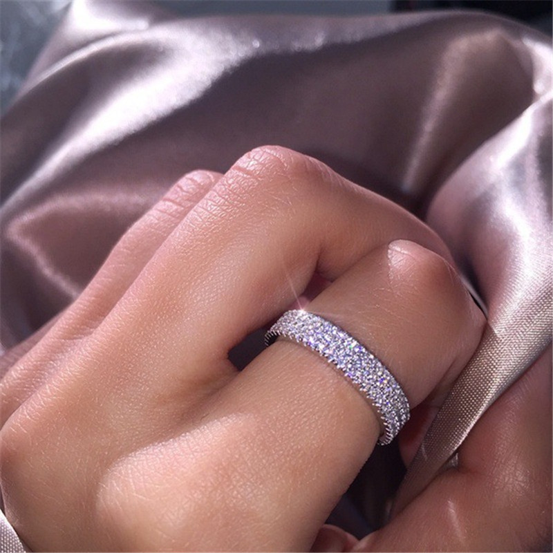 Three Row Rhinestone Ring Women Simple Vintage Jewelry Rings For Women Fashion Finger Ring Female Wedding Rings For Ladies Gifts