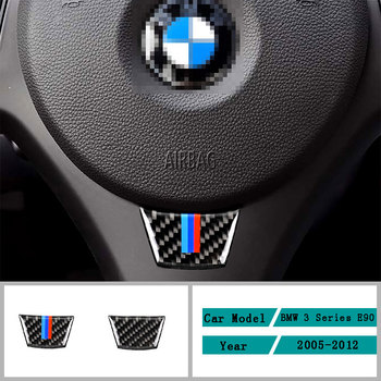 Carbon Fiber Car Accessories Interior Steering Wheel Modification Decals Cover Trim Stickers For BMW 3 Series E90 2005-2012 image
