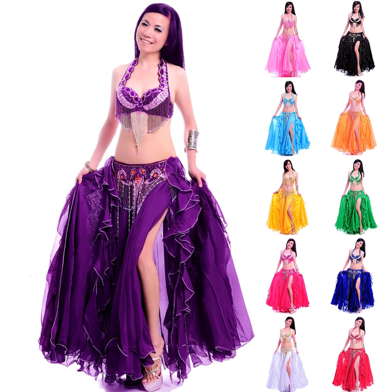 Professional adult belly dance costume set bra belt long skirt bellydancing dress woman indian carnival costume free shipping