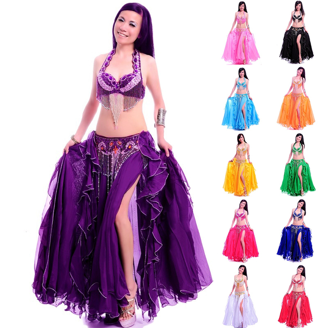 Professional adult belly dance costume set bra belt long skirt bellydancing dress woman indian carnival costume free shipping