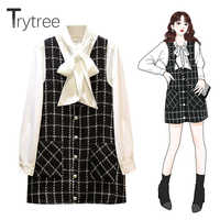 Trytree Autumn Women two piece set Single Breasted Casual Bow Blouse + Dress MIni Plaid Kintted Pockets Office Lady 2 Piece Set