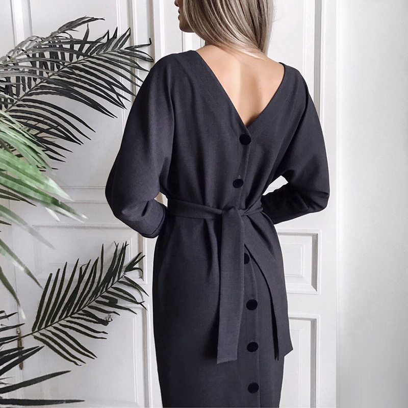 Women Vintage Back Button Sashes A-line Party Dress Long Sleeve Sexy V NecK Solid Casual Elegant Mid Dress 2019 Winter New Dress