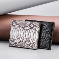 Authentic Real Python Leather Unisex Men's Short Wallet Purse Small Card Holders Genuine Exotic Snakeskin Male Bifold Wallet