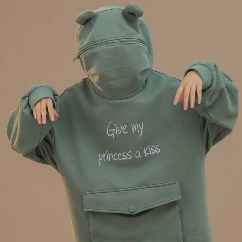 NiceMix Women Autumn Thick Loose Sweatshirt Harajuku Letters Printed Lovely Frog Casual Hooded Hoodies Pullover Female Thicken C