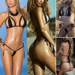 S-3XL размера плюс купальники для женщин комплект бикини бюстгальтер набор микро стринги купальники супер сексуальный сплошной черный женск... 4
