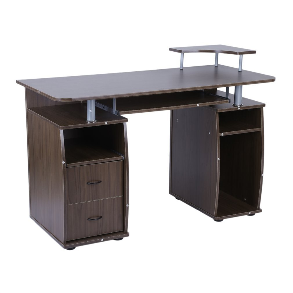Stable Office Computer Desk Laptop Work Station Home PC Table Notebook Desk With Elevated Printer Shelf Decorative Furniture
