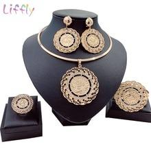 Liffly Bridal Gift Dubai Gold Jewelry Sets for Women Fashion Choker Necklace Nigerian Wedding Big African Beads Jewelry Set цена