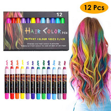 12 Color Temporary Hair Chalk Pens Crayon Salon Washable Hair Color Dye Face Kit Safe for Makeup Party Christmas Gift for Kids цена в Москве и Питере