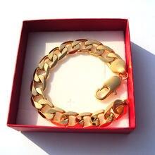Pulseira 12mm acabamento de ouro sólido fino qualidade premium dos homens cubana curb link corrente handwork stamep 24 k