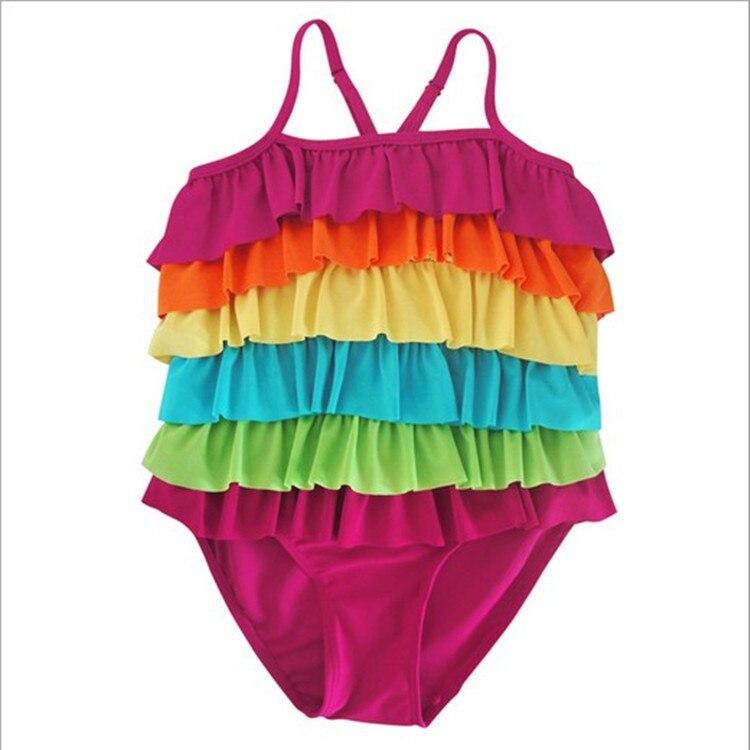 South Korea KID'S Swimwear Women's Korean-style Dress-GIRL'S Swimsuit Rainbow Cute Baby Bathing Suit Women's