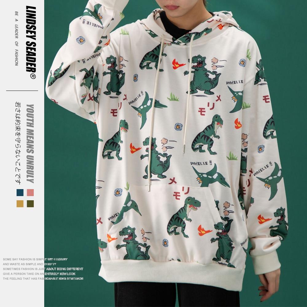 Lindsey Seader 2020 Men Hip Hop Hoodie Sweatshirt Funny Cute Dinosaurs Print Hoodie Streetwear Hooded Pullover Cotton Outwear