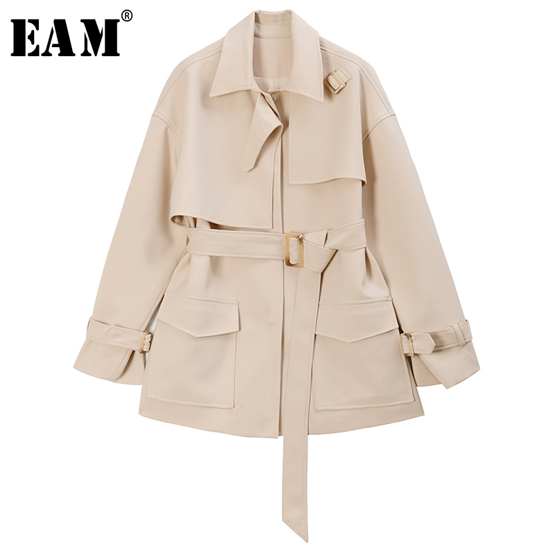 [EAM] Women Pocket Split Bandage Big Size Trench New Lapel Long Sleeve Loose Fit Windbreaker Fashion Tide Spring 2020 1R923