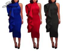 Xnxee 2019 autumn European and American womens solid color ruffled midi dress