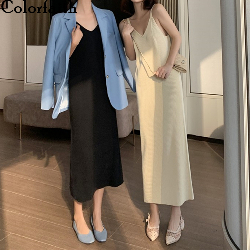 Colorfaith New 2020 Summer Women <font><b>Dresses</b></font> Knitting V-Neck Bottoming <font><b>Elegant</b></font> <font><b>Sexy</b></font> Casual Sundress Elasticity <font><b>Long</b></font> <font><b>Dress</b></font> DR4866 image