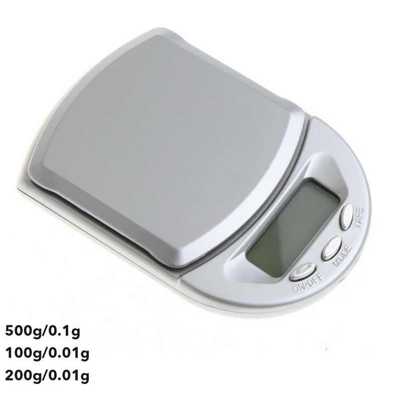 Junejour 0.01/0.1g Mini balance numérique LCD rétro-éclairage Portable cuisine balance poche bijoux balance électronique 500/200/100g capacité