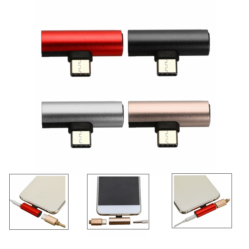2 In 1 Type C USB C Earphone AUX Cable Connector Converter Adapter Audio Charging Dual Adapter AUX Splitter  For Huawei P20