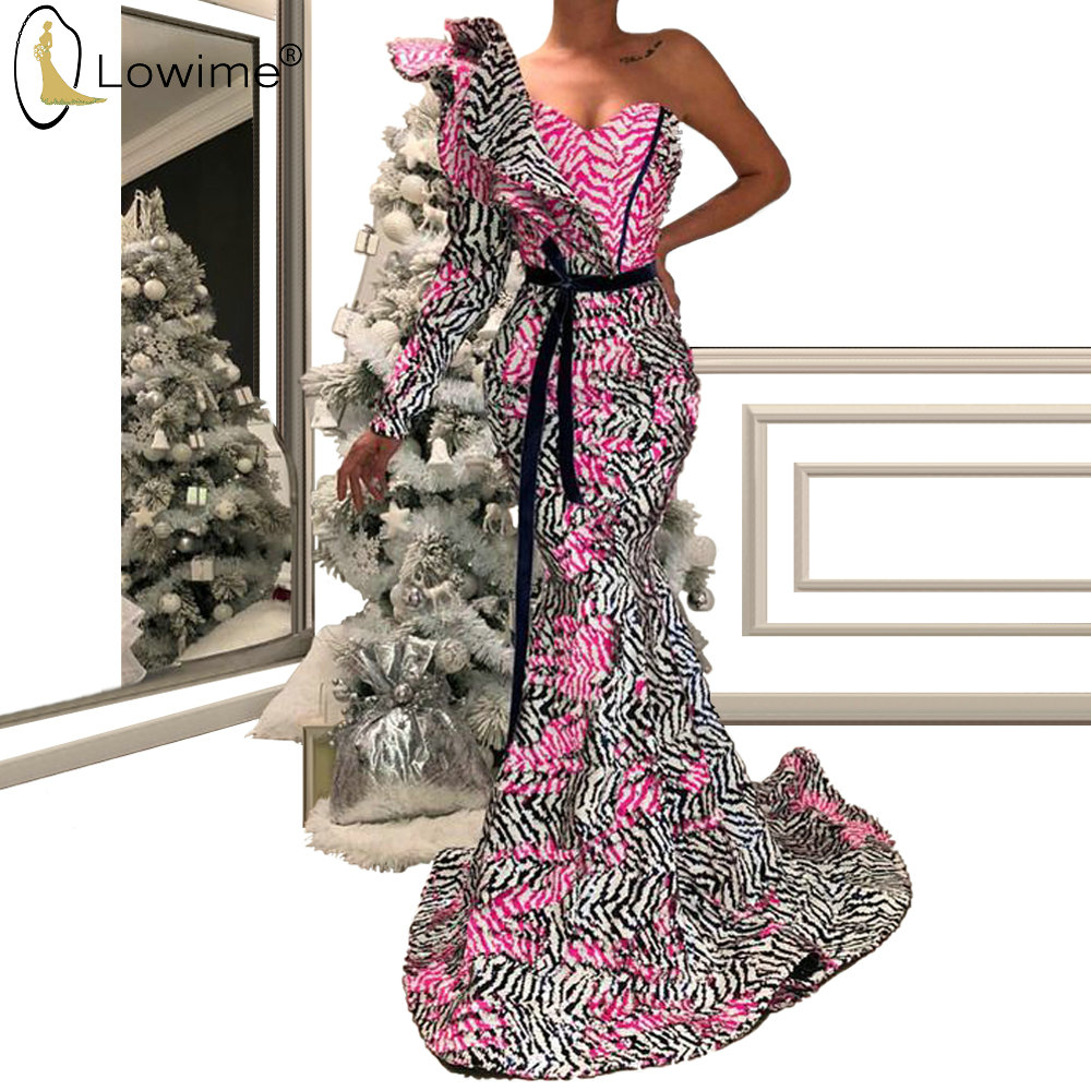 Vestido De Soiree  Arabic Style One Shoulder Evening Dresses Mermaid Middle East Long Robes вечерние платья  Prom Party Dress