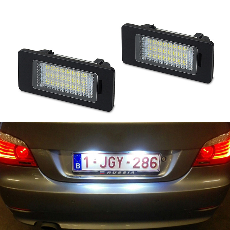 2 PCS License Plate Light  Led Number Plate Holder Lamp No Error For BMW E39 E60 E60N E61 E90 E91 E90N E92 E93 E46 CSL E82-in License Plate from Automobiles & Motorcycles