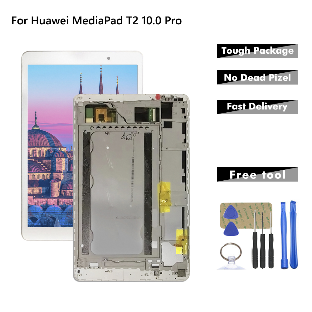 AAA+ Quality LCD For Huawei MediaPad T2 10.0 Pro FDR-A01L FDR-A01W LCD Display Touch Screen Digitizer Assembly + Frame image