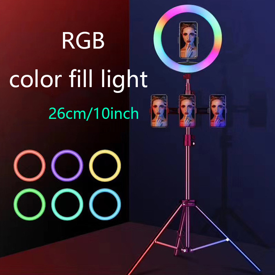 10 inch RGB Selfie Ring light led Dimmable 26cm Photography Lighting Video Studio Photo Beauty Makeup Live Youtube Phone Holder