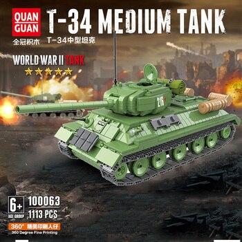 1113PCS Military Soviet Russia T-34 Tank Blocks Military Blocks Technic WW2 Tank Soldier Figures Weapon parts Bricks Kids Toys printio soviet tank