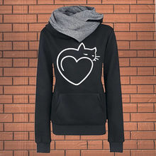 Womens Sweatshirt Casual Print Long Sleeve Hoodies Pullover Hooded Tops Cat Women's Hoodie Poleron Sudadera Con Capucha L808(China)